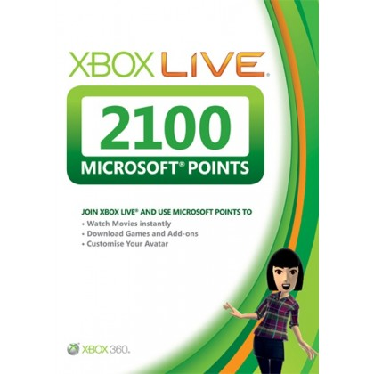 Карта оплаты Xbox Live на 2100 очков Microsoft Points