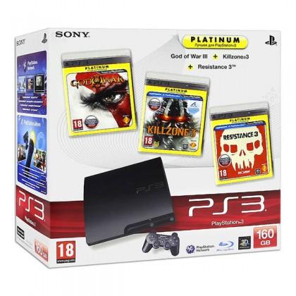 Игровая приставка Sony PS3 Slim (160 Gb) + Killzone 3 + God of War 3 + Resistance 3