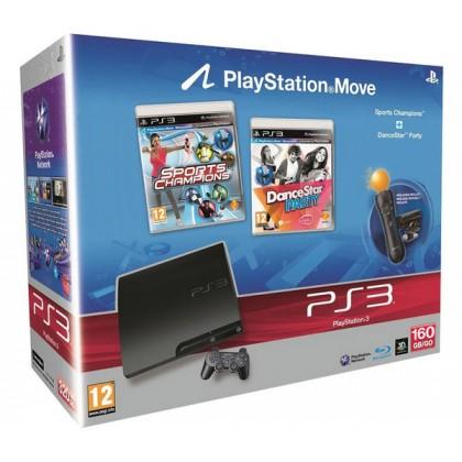 Игровая приставка Sony PS3 Slim (160 Gb) + Праздник Спорта + DanceStar Party + PS Move Starter Pack