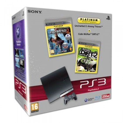 Игровая приставка Sony PS3 Slim (250 Gb) + Uncharted 2 + Colin McRae DiRT 2