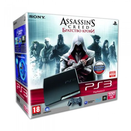 Игровая приставка Sony PS3 Slim (320 Gb) + Assassin's Creed Brotherhood