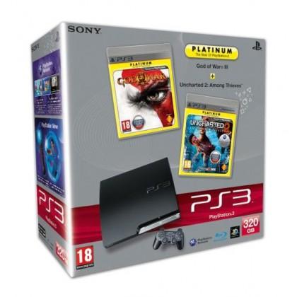 Игровая приставка Sony PS3 Slim (320 Gb) + God of War 3 + Uncharted 2