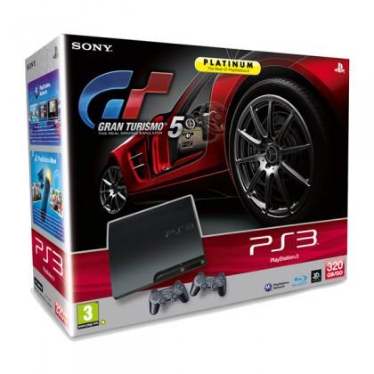 Игровая приставка Sony PS3 Slim (320 Gb) + Gran Turismo 5 + второй джойстик