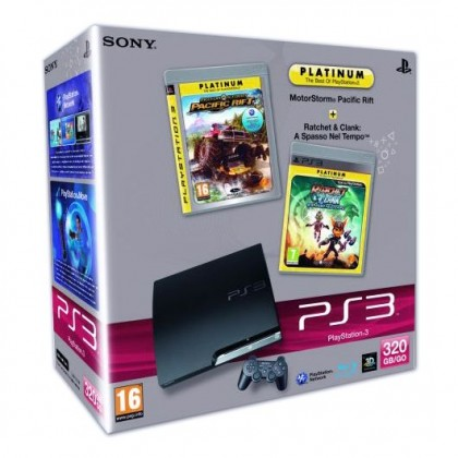 Игровая приставка Sony PS3 Slim (320 Gb) + MotorStorm Pacific Rift + Ratchet & Clank