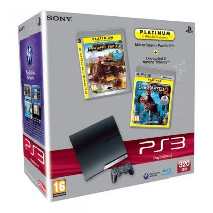 Игровая приставка Sony PS3 Slim (320 Gb) + MotorStorm Pacific Rift + Uncharted 2: Among Thieves