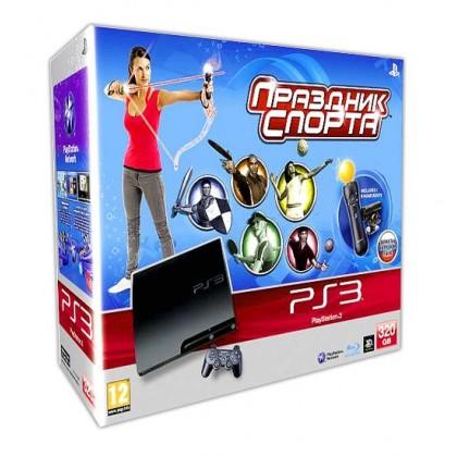 Игровая приставка Sony PS3 Slim (320 Gb) + Праздник Спорта + PS Move Starter Pack