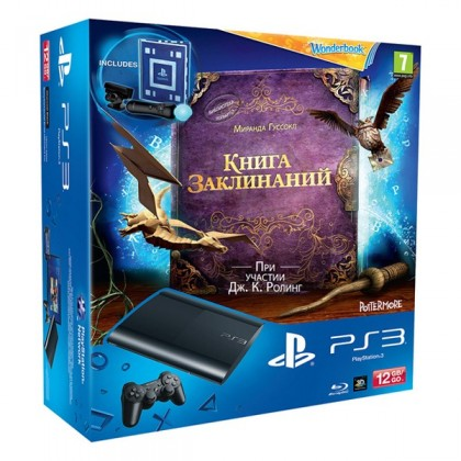Игровая приставка Sony PS3 Super Slim (12 Gb) + Книга Заклинаний + PS Move Starter Pack
