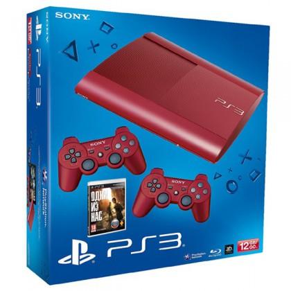 Игровая приставка Sony PS3 Super Slim (12 Gb) Red + Одни из нас + 2 геймпада
