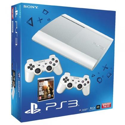 Игровая приставка Sony PS3 Super Slim (12 Gb) White + Одни из нас + 2 геймпада