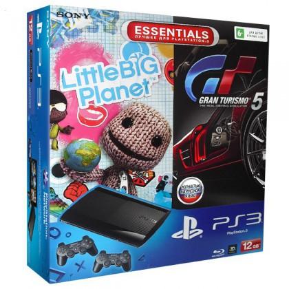 Игровая приставка Sony PS3 Super Slim (12 Gb) + LittleBigPlanet + Gran Turismo 5 + 2 геймпада
