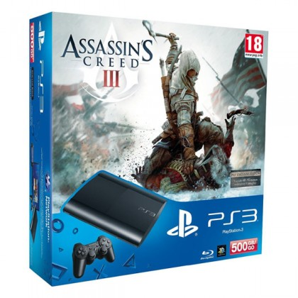 Игровая приставка Sony PS3 Super Slim (500 Gb) + Assassin's Creed 3