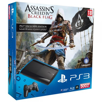 Игровая приставка Sony PS3 Super Slim (500 Gb) + Assassin's Creed 4