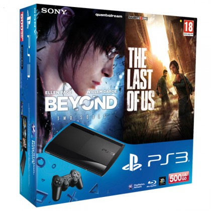 Игровая приставка Sony PS3 Super Slim (500 Gb) + За гранью + Одни из нас