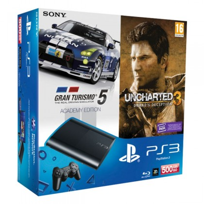Игровая приставка Sony PS3 Super Slim (500 Gb) + Gran Turismo 5 + Uncharted 3