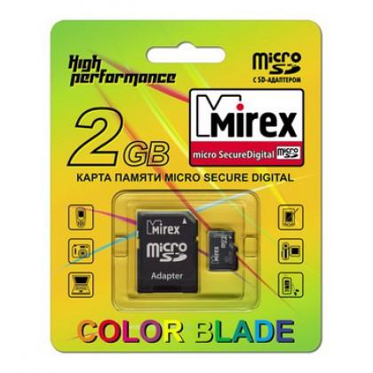 2GB MIREX карта памяти MicroSD class4 + адаптер