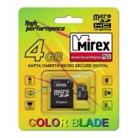 4GB MIREX карта памяти MicroSDHC class4 + адаптер