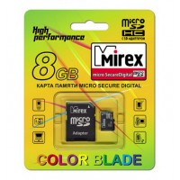 8GB MIREX карта памяти MicroSDHC class4 + адаптер