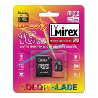 16GB MIREX карта памяти MicroSDHC class10 + адаптер