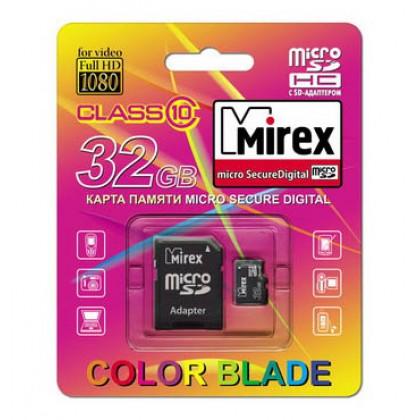 32GB MIREX карта памяти MicroSDHC class10 + адаптер