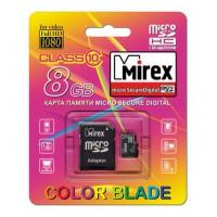 8GB MIREX карта памяти MicroSDHC class10 + адаптер