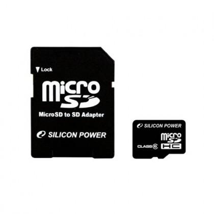 8GB Silicon Power карта памяти MicroSDHC class6 + адаптер