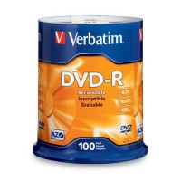 Диск Verbatim DVD-R 4.7GB 16x AZO CakeBox 100шт