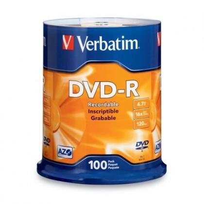 Диск Verbatim DVD-R 4.7GB 16x AZO CakeBox 100шт