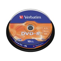 Диск Verbatim DVD-R 4.7GB 16x AZO CakeBox 10шт