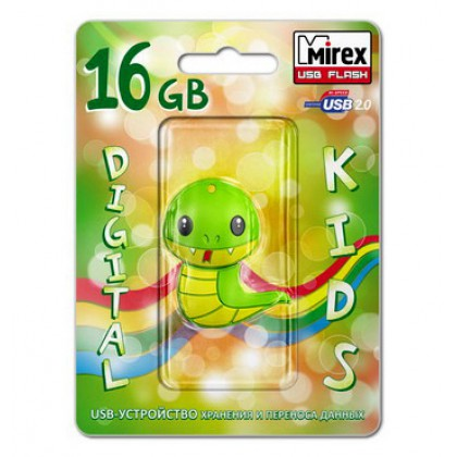 16GB USB флэш-диск MIREX Snake Green в виде игрушки