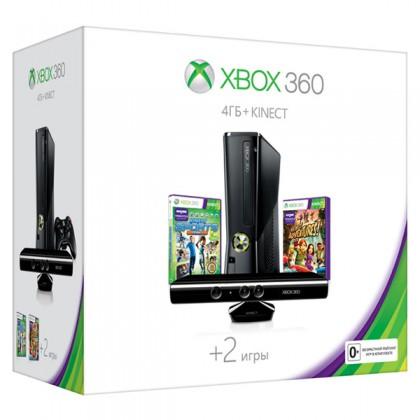 Игровая приставка Xbox 360 4GB + сенсор Kinect + Kinect Sports 2 + Kinect Adventures