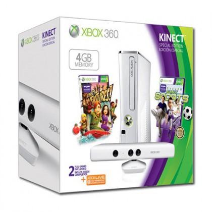 Игровая приставка Xbox 360 4GB + сенсор Kinect + Kinect Sports + Kinect Adventures белая