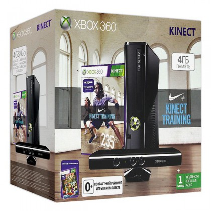 Игровая приставка Xbox 360 4GB + сенсор Kinect + Nike+ Kinect Training + Kinect Adventures